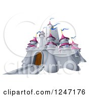 Clipart Of A Gray Castle With Pink Turrets And Blue Flags Royalty Free Vector Illustration