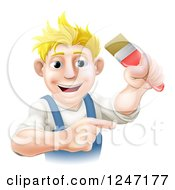 Clipart Of A Happy Blond Male Painter Holding Up And A Brush And Pointing Royalty Free Vector Illustration by AtStockIllustration