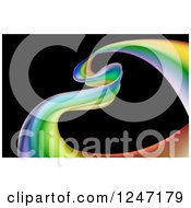 Clipart Of A Colorful Ribbon Forming A Heart Over Black Royalty Free Vector Illustration by AtStockIllustration