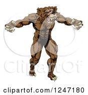 Clipart Of A Muscular Vicious Bear Royalty Free Vector Illustration