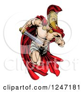 Clipart Of A Musular Spartan Trojan Warrior Mascot Running With A Sword Royalty Free Vector Illustration by AtStockIllustration