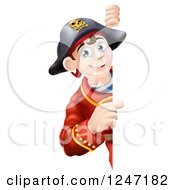 Clipart Of A Happy Young Pirate Captain Looking Around And Pointing To A Sign Royalty Free Vector Illustration by AtStockIllustration