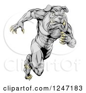 Clipart Of A Muscular Sports Bulldog Mascot Running Royalty Free Vector Illustration by AtStockIllustration