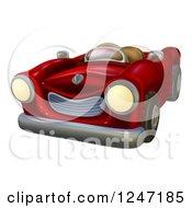 Clipart Of A Cartoon Red Vintage Convertible Car Royalty Free Vector Illustration