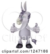 Cartoon Donkey Standing And Holding Two Thumbs Up