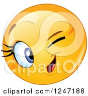 Clipart Of A Round Yellow Female Emoticon Winking Royalty Free Vector Illustration