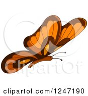 Clipart Of A Brown And Orange Butterfly In Flight Royalty Free Vector Illustration