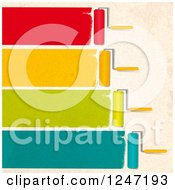 Clipart Of Roller Brushes Painting Colorful Strokes On A Beige Wall Royalty Free Vector Illustration by elaineitalia