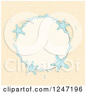 Clipart Of A Round Bubble And Starfish Border With Beige Royalty Free Vector Illustration