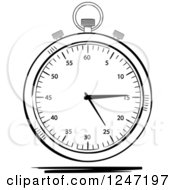 Clipart Of A Black And White Sketched Stop Watch Royalty Free Vector Illustration