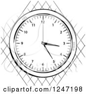 Clipart Of A Black And White Sketched Stop Watch Over A Net Royalty Free Vector Illustration by elaineitalia