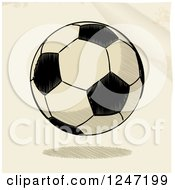 Clipart Of A Sketched Floating Soccer Ball Royalty Free Vector Illustration by elaineitalia
