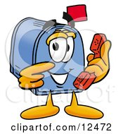Blue Postal Mailbox Cartoon Character Holding A Telephone