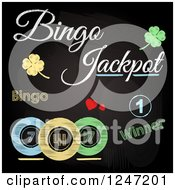 Clipart Of Sketched Bingo Jackpot Winner Text Shamrocks And Balls On A Black Board Royalty Free Vector Illustration