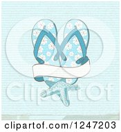 Clipart Of A Distressed Blue Background With Flip Flops A Starfish And A Banner Royalty Free Vector Illustration by elaineitalia