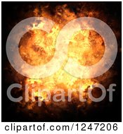 Clipart Of A Fiery Bursting Explosion On Black Royalty Free Illustration