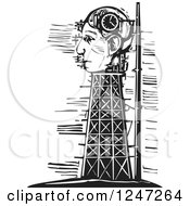 Clipart Of A Black And White Woodcut Tower And Head Clock Under Construction Royalty Free Vector Illustration