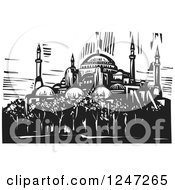 Clipart Of A Black And White Woodcut Of Hagia Sophia In Istanbul Royalty Free Vector Illustration