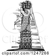 Black And White Woodcut Tower And Arm Under Construction