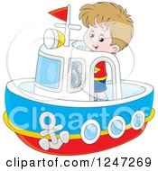 Clipart Of A Happy Boy Steering A Boat Royalty Free Vector Illustration