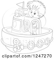 Clipart Of A Black And White Boy Steering A Boat Royalty Free Vector Illustration