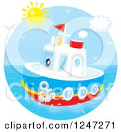 Clipart Of A Tug Boat At Sea Royalty Free Vector Illustration by Alex Bannykh