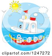 Clipart Of A Happy Tug Boat At Sea Royalty Free Vector Illustration by Alex Bannykh