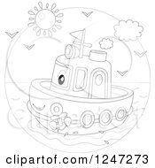 Clipart Of A Black And White Happy Tug Boat At Sea Royalty Free Vector Illustration