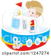 Clipart Of A Caucasian Boy Steering A Boat Royalty Free Vector Illustration