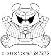 Clipart Of A Black And White Fat Business Mouse Sitting And Cheering Royalty Free Vector Illustration