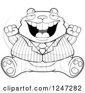 Clipart Of A Fat Business Hamster Sitting And Cheering Royalty Free Vector Illustration