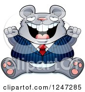 Clipart Of A Fat Business Mouse Sitting And Cheering Royalty Free Vector Illustration