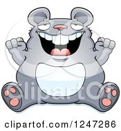 Clipart Of A Fat Mouse Sitting And Cheering Royalty Free Vector Illustration