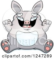 Clipart Of A Fat Aardvark Sitting And Cheering Royalty Free Vector Illustration