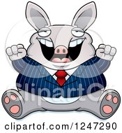 Clipart Of A Fat Business Aardvark Sitting And Cheering Royalty Free Vector Illustration