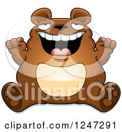 Clipart Of A Fat Bear Sitting And Cheering Royalty Free Vector Illustration