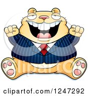 Clipart Of A Fat Business Hamster Sitting And Cheering Royalty Free Vector Illustration by Cory Thoman