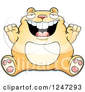 Clipart Of A Fat Hamster Sitting And Cheering Royalty Free Vector Illustration