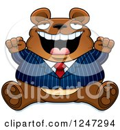 Clipart Of A Fat Business Bear Sitting And Cheering Royalty Free Vector Illustration