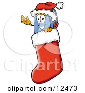 Blue Postal Mailbox Cartoon Character Wearing A Santa Hat Inside A Red Christmas Stocking