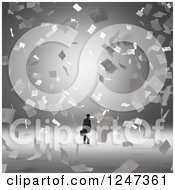 Clipart Of A 3d Businessman And Flying Papers Royalty Free Illustration by Mopic