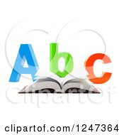Clipart Of A 3d Open Book And Abc Letters On White Royalty Free Illustration