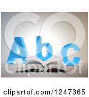 Clipart Of A 3d Open Book And Abc Letters Royalty Free Illustration by Mopic