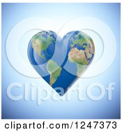 Clipart Of A 3d Heart Shaped Earth Royalty Free Illustration