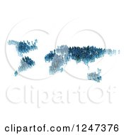 3d Tiny People Forming A Blue World Map