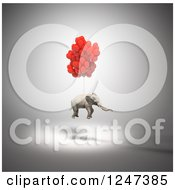 Clipart Of A 3d Elephant Floating With Balloons Royalty Free Illustration