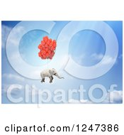 Clipart Of A 3d Elephant Floating With Balloons In The Sky Royalty Free Illustration