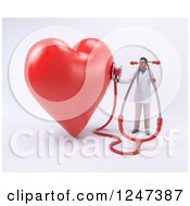 Clipart Of A 3d Male Doctor Listening To A Giant Heart With A Stethoscope Royalty Free Illustration