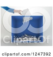 Clipart Of A 3d Hand Inserting A Ballot Or Document In A Shredder Royalty Free Illustration