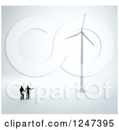 Clipart Of 3d Engineers Looking Up At A Wind Turbine Royalty Free Illustration